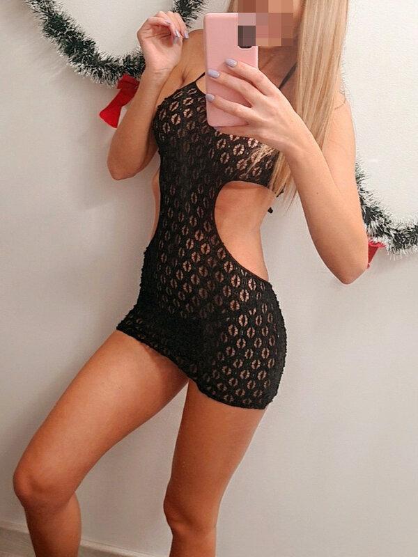 Chemise Leg Avenue Crochet lace halter mini dress