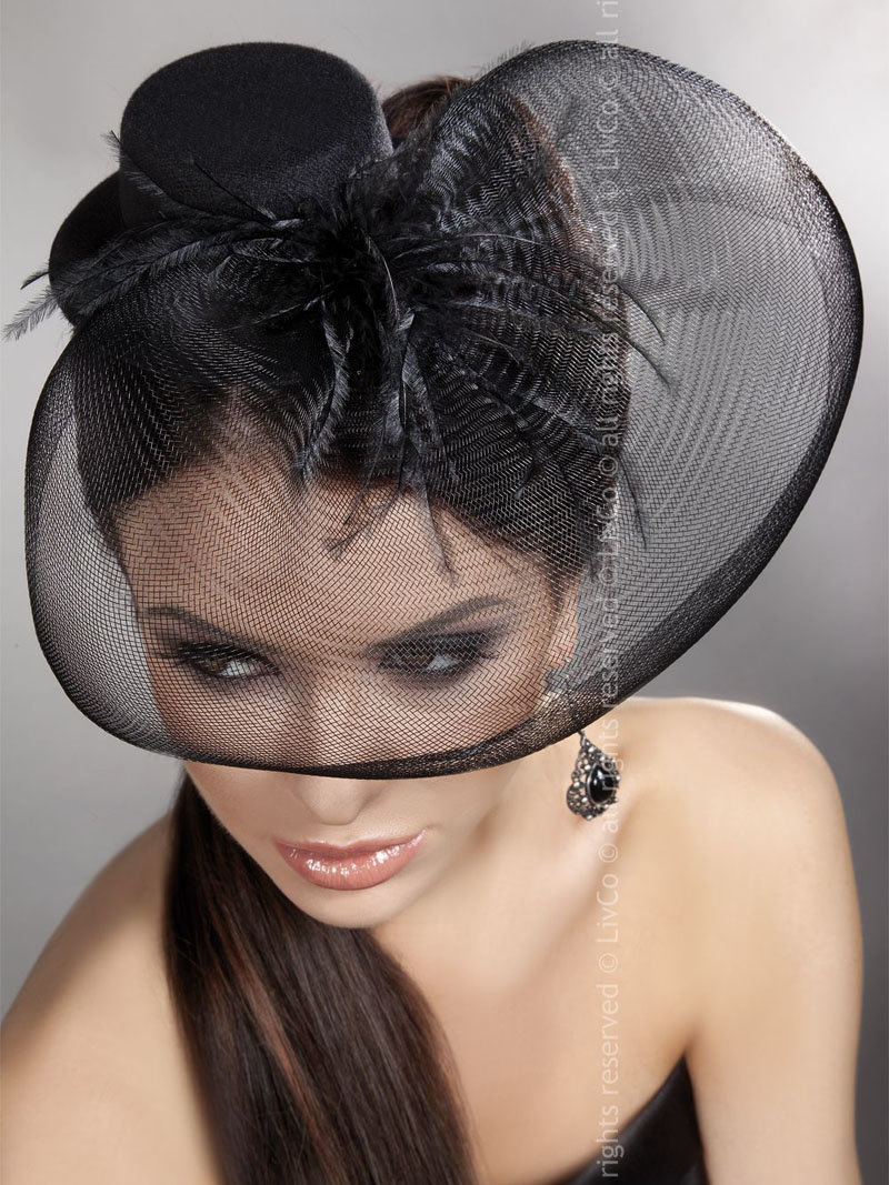Palarie Mini Top Hat Model 24 Negru