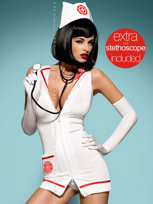 Costum Emergency dress + stethoscope - Alb
