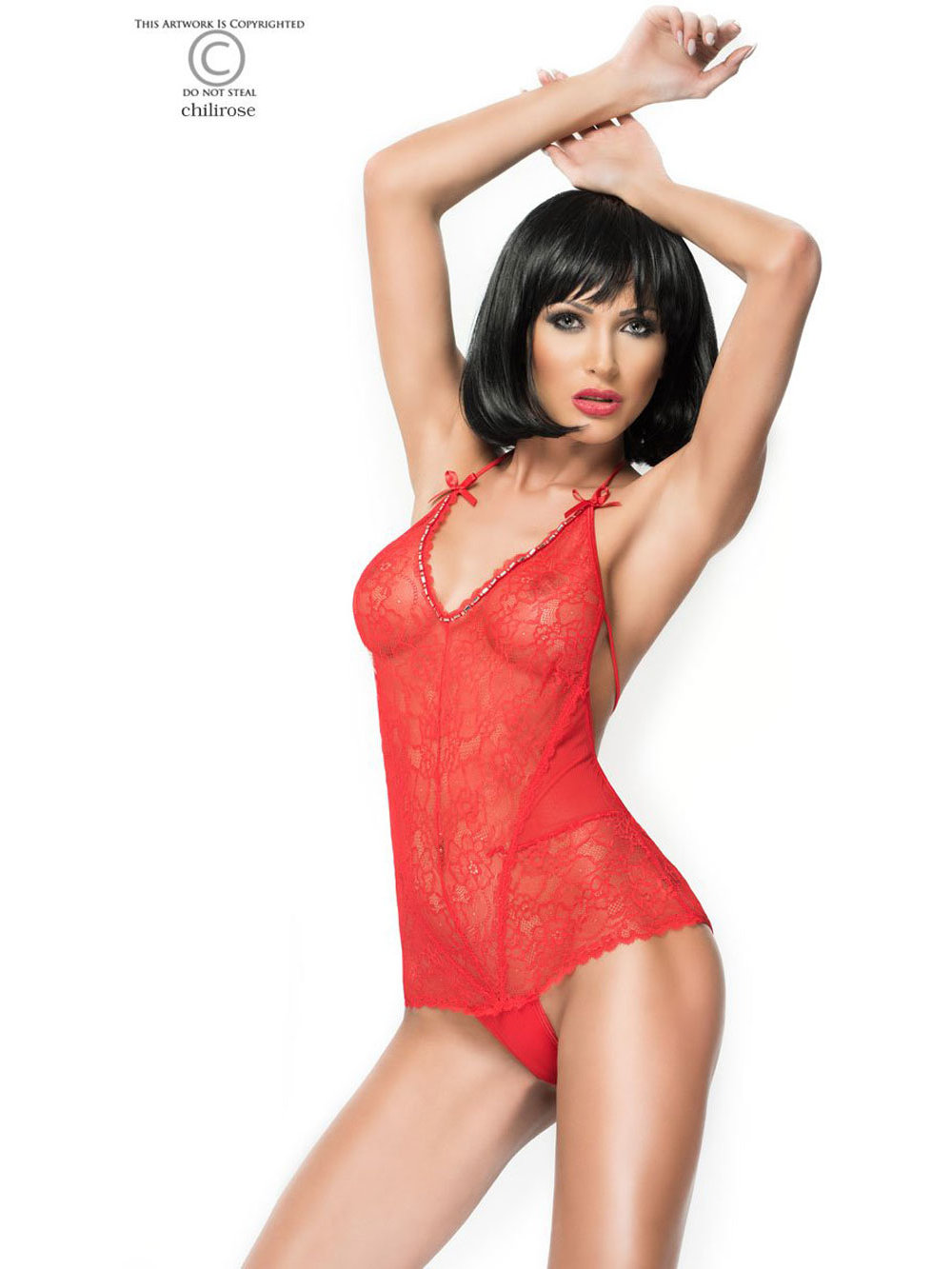 Chilirose Body Lacy Rosu
