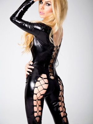 Catsuit Kitty - Negru