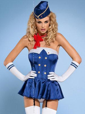 Costum Stewardess corset - Albastru