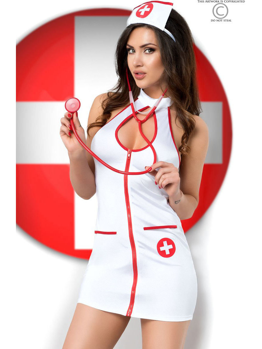 Chilirose Costum Sexy Nurse Alb