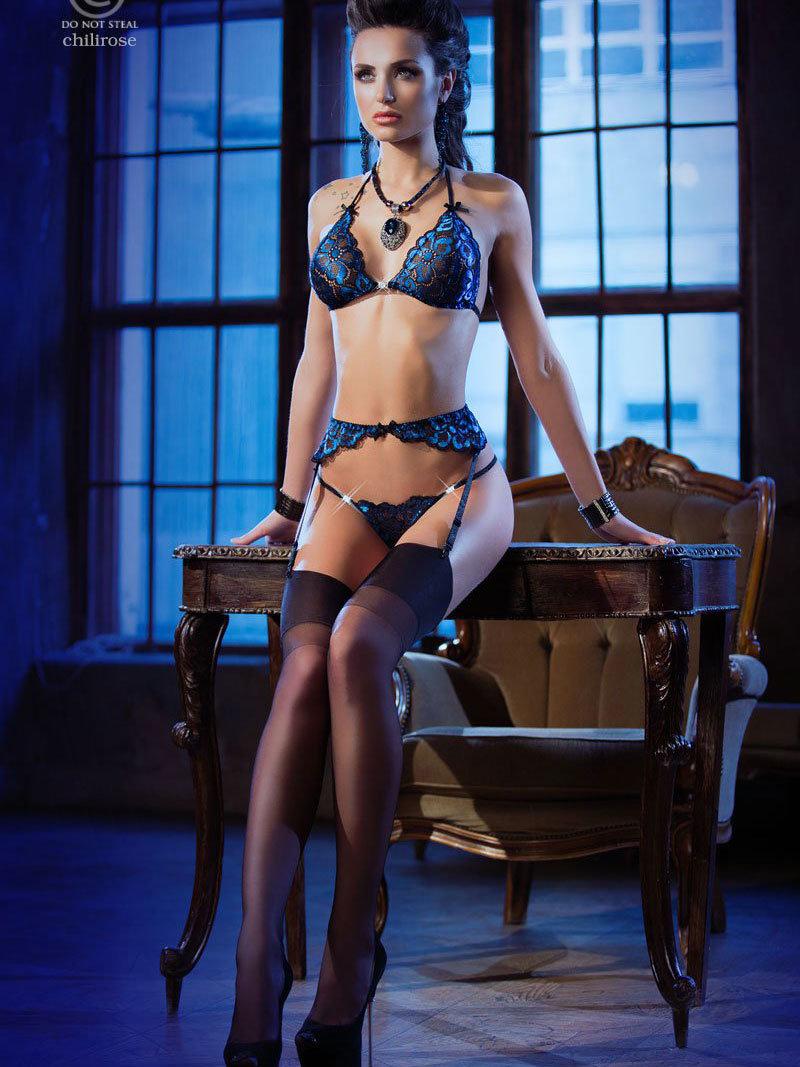 Set sexy Edwina Albastru