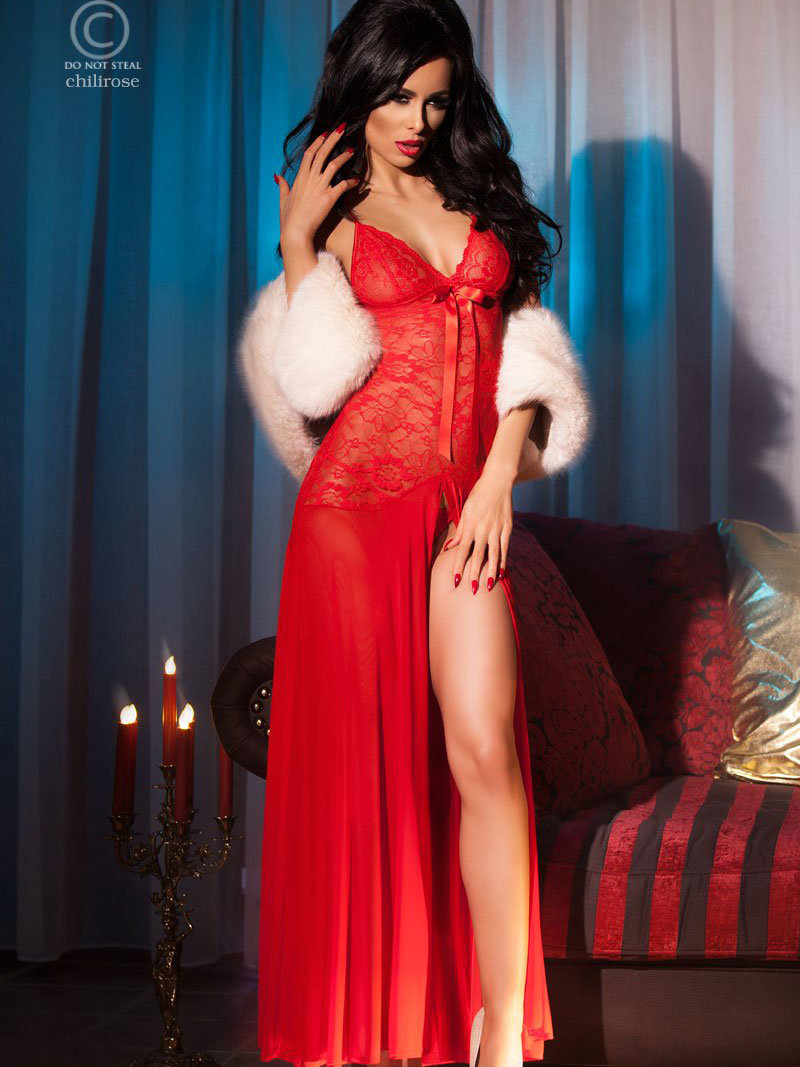 Chilirose Chemise Kirra Long red Rosu