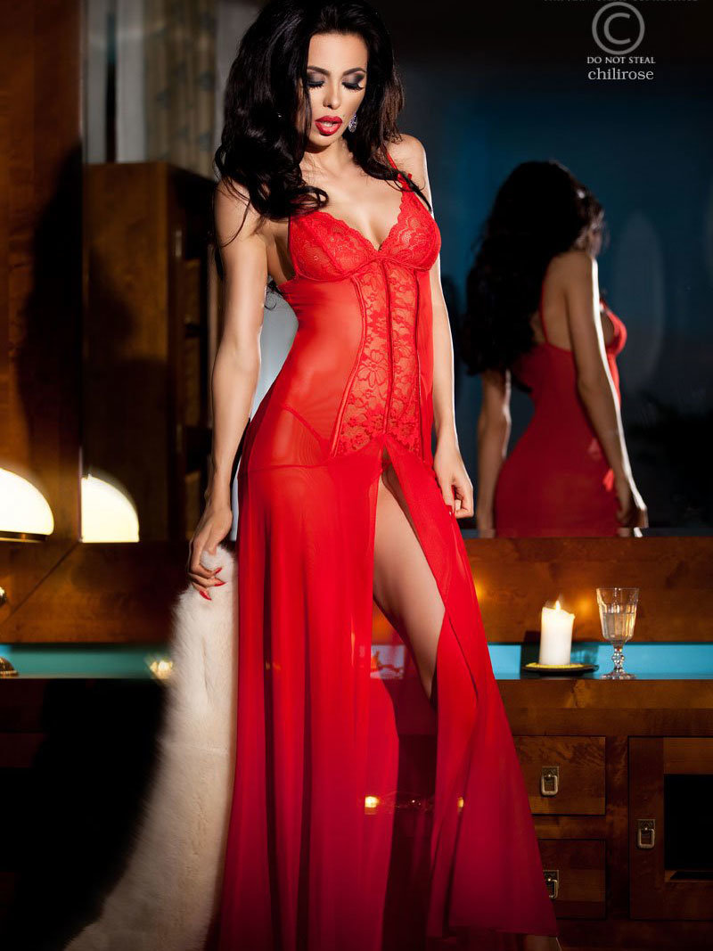 Chemise Kim Long red Rosu de la Chilirose