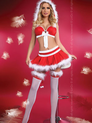 Costum Little Miss Christmas s - Rosu