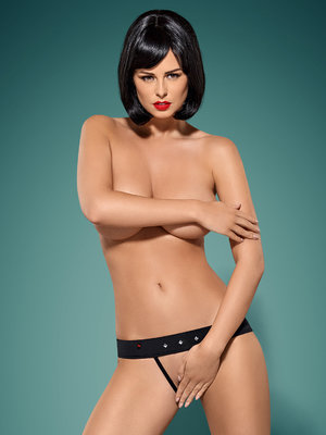 Chilot Gretia crotchless panties - Negru