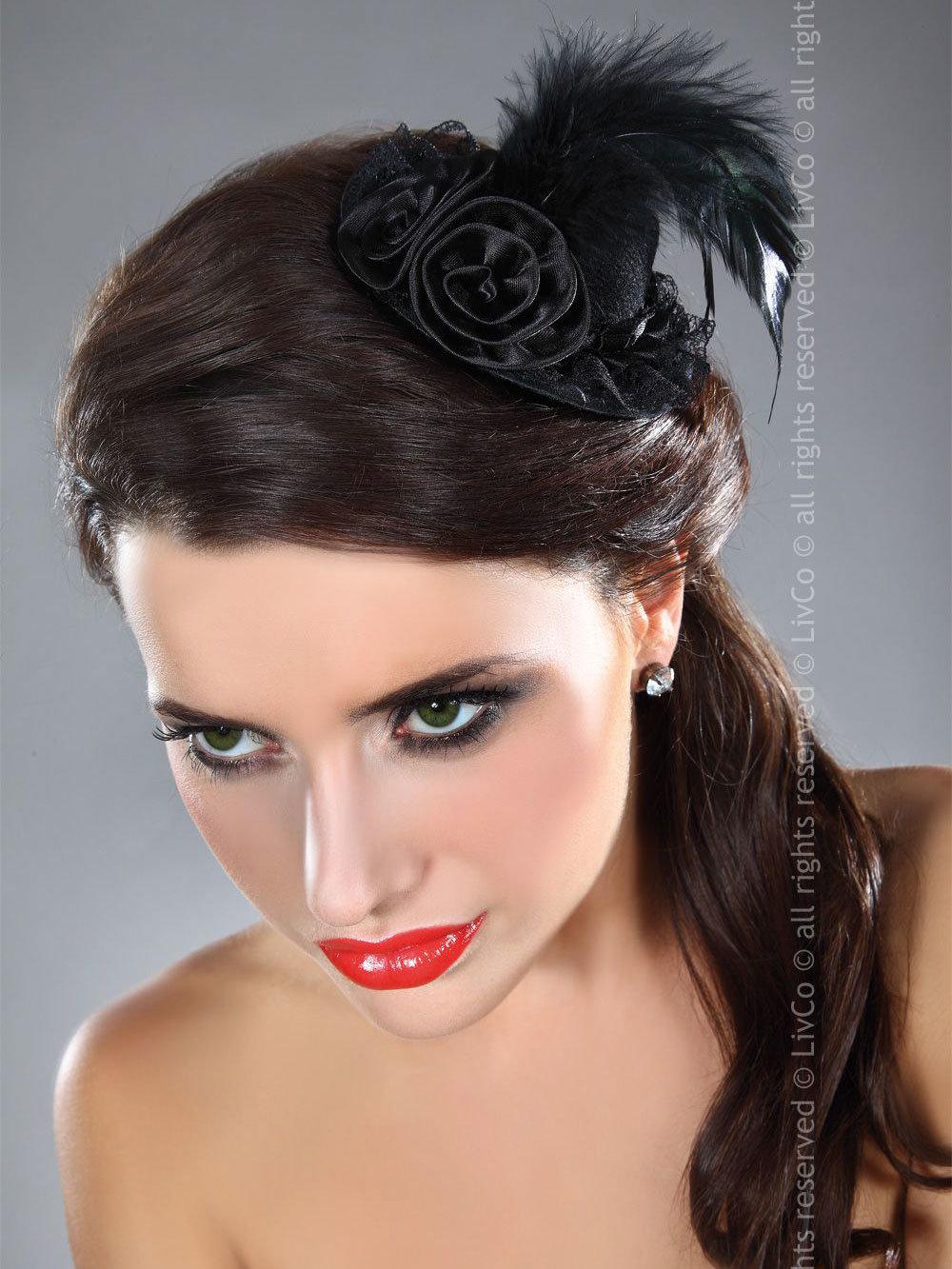 LivCo Palarie Mini top hat model 21 Negru
