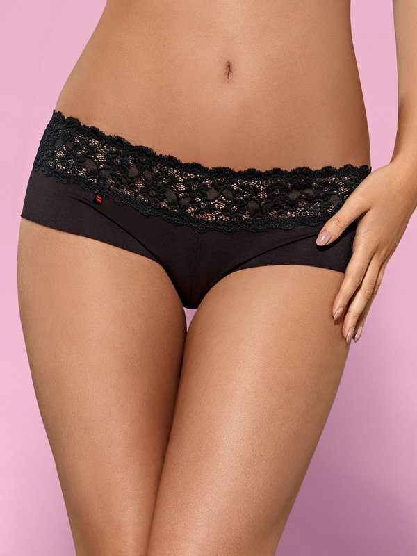 Chilot Obsessive Lacea shorties negru & rosu 2 bucati