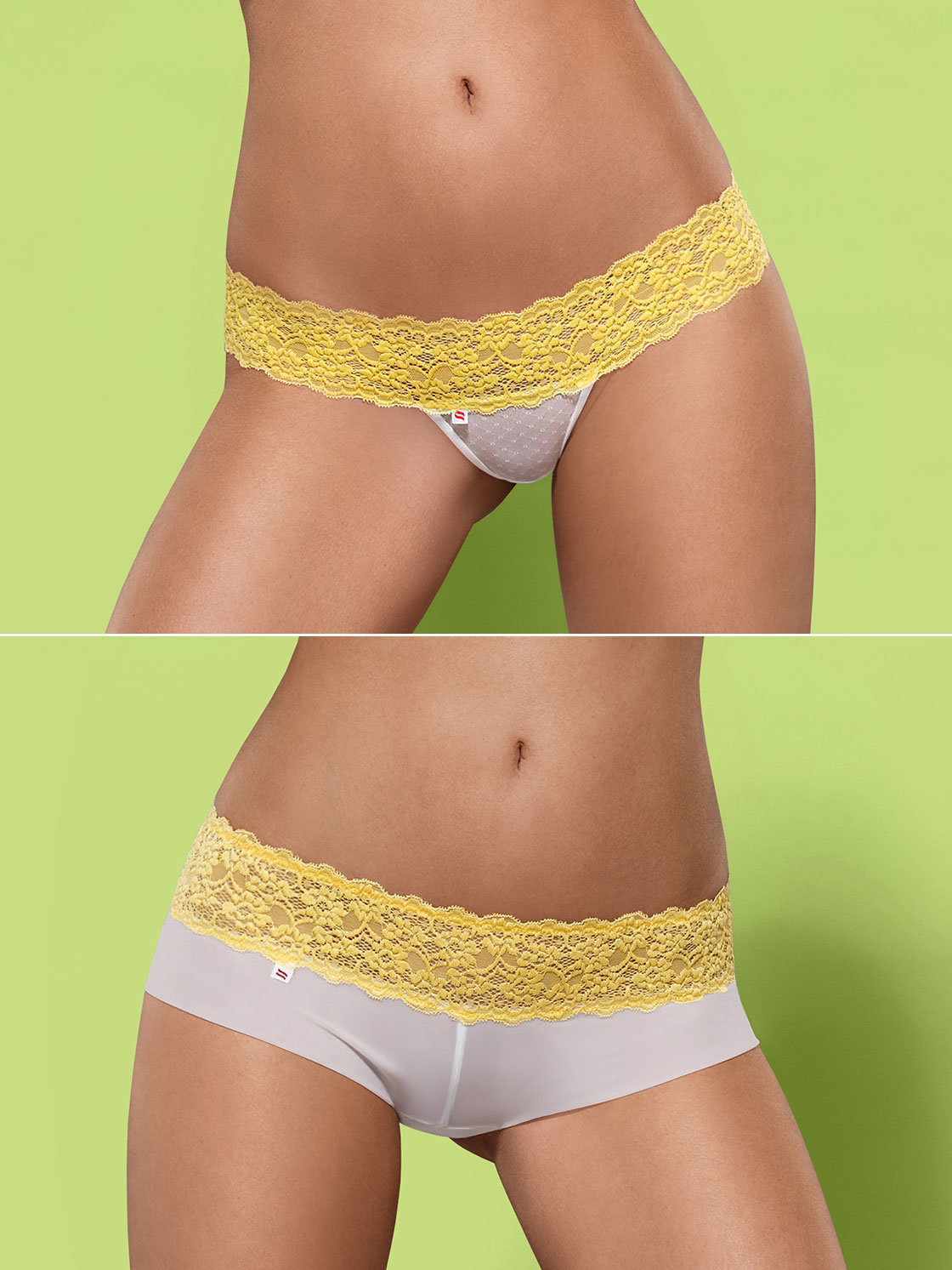 Obsessive Chilot Lacea shorties & thong galben 2 bucati