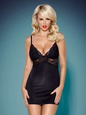 Chemise 810-CHE chemise and thong - Negru
