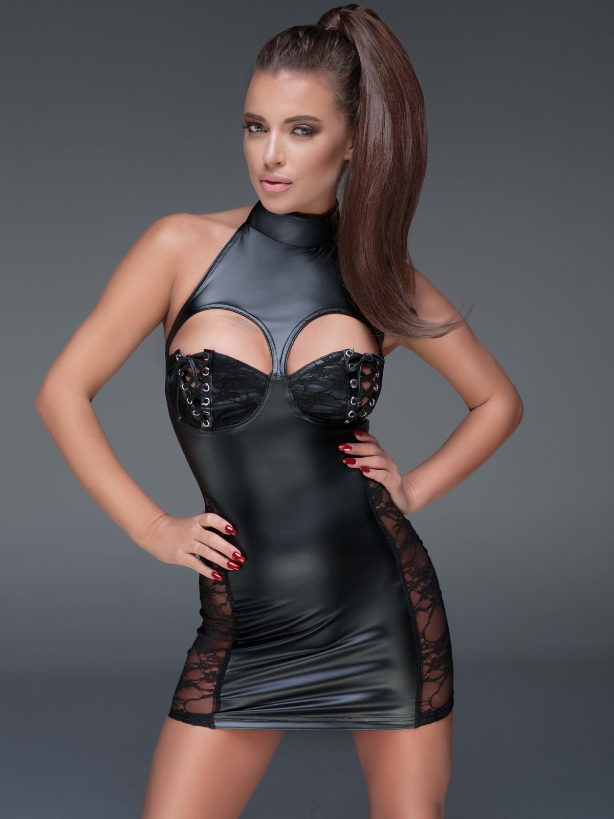 Noir Handmade Chemise Powerwetlook minidress with cutouts Negru