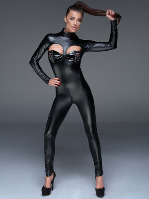 Catsuit Powerwetlook overall - Negru