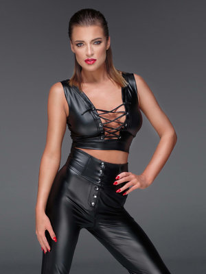 Top Powerwetlook top - Negru