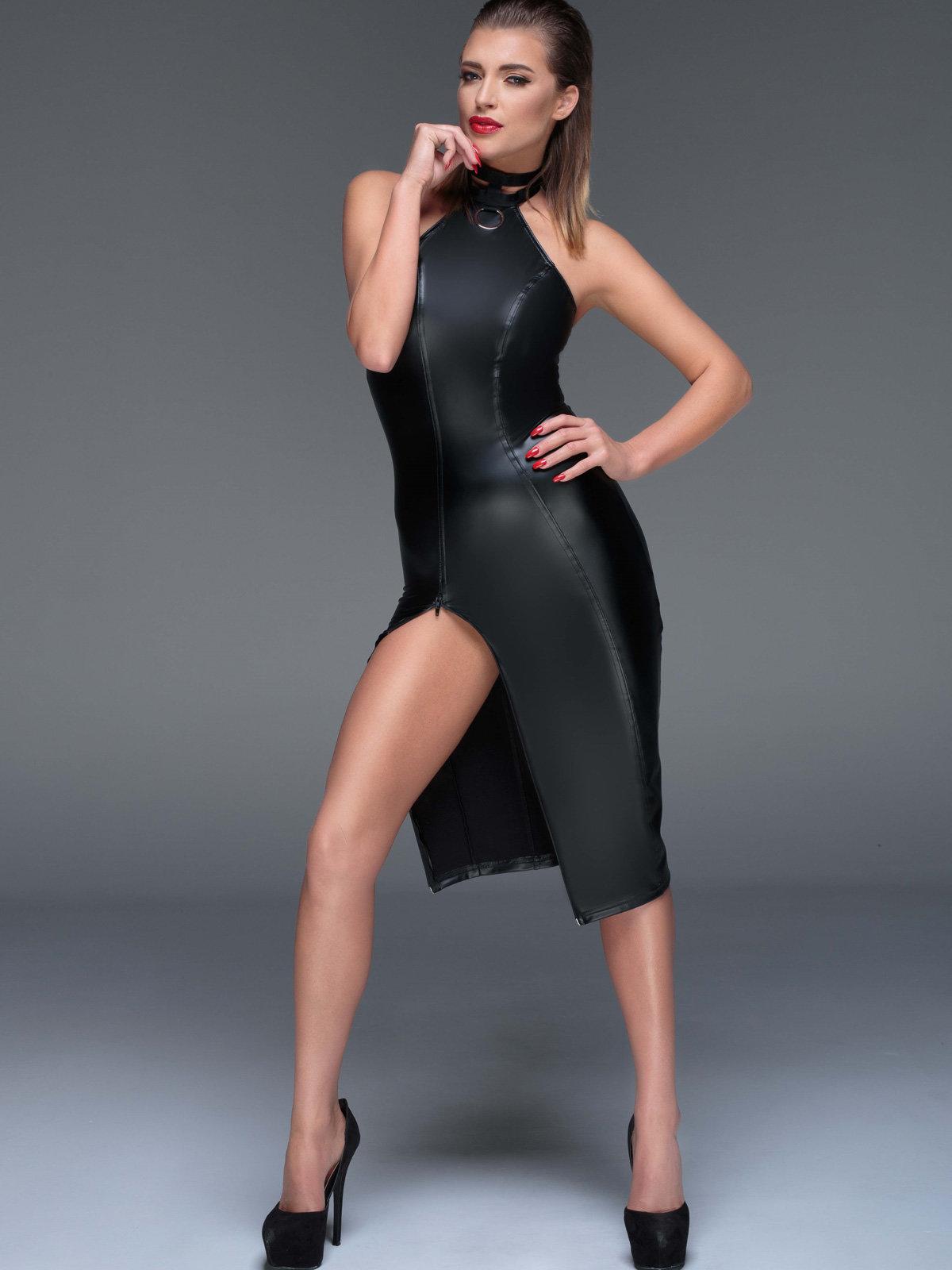 Chemise Powerwetlook pencil dress Negru de la Noir Handmade