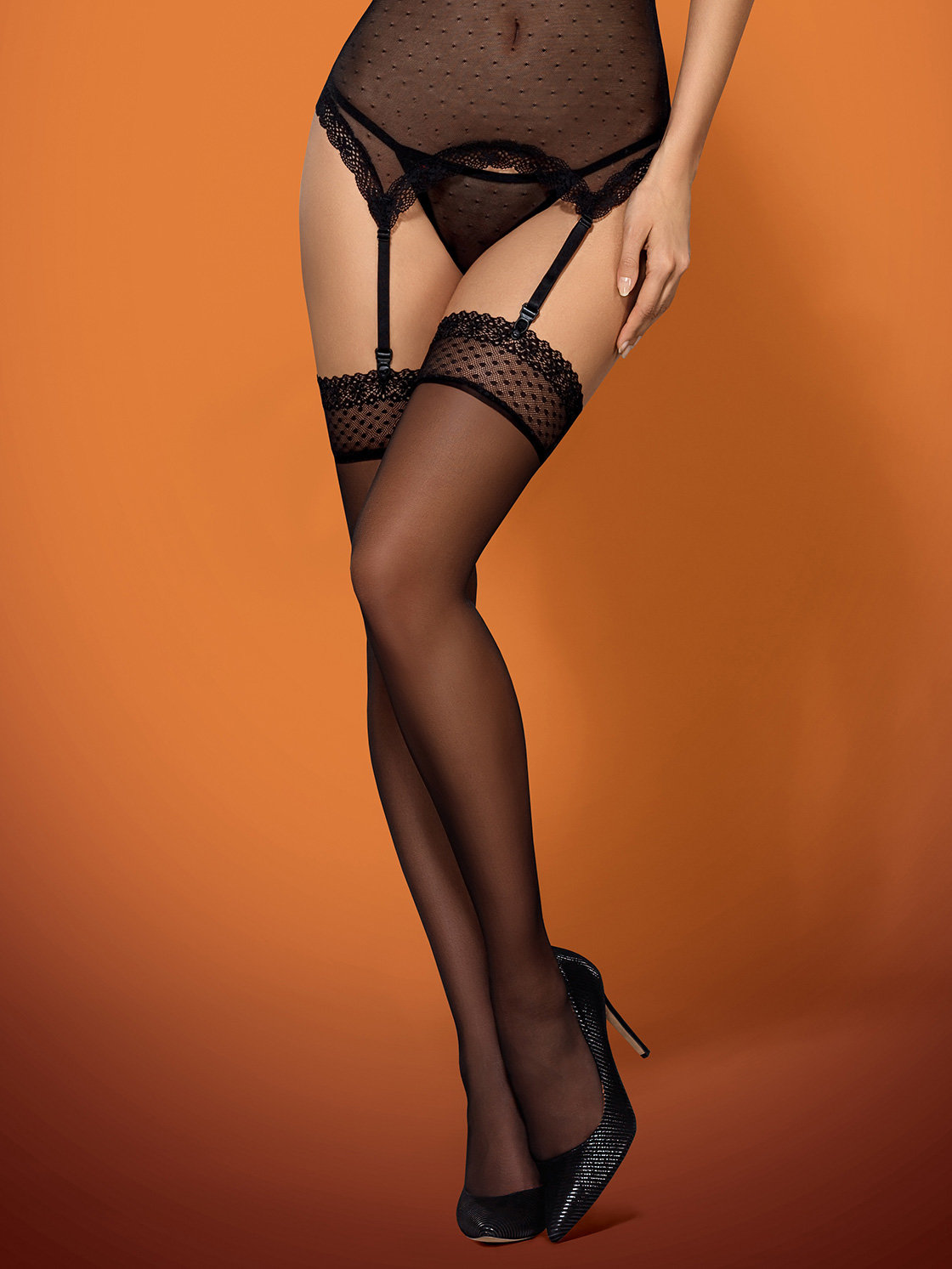 Dresuri 817-STO-1 stockings Negru de la Obsessive