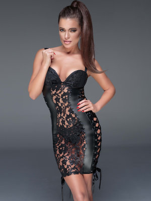 Chemise Powerwetlook minidress - Negru