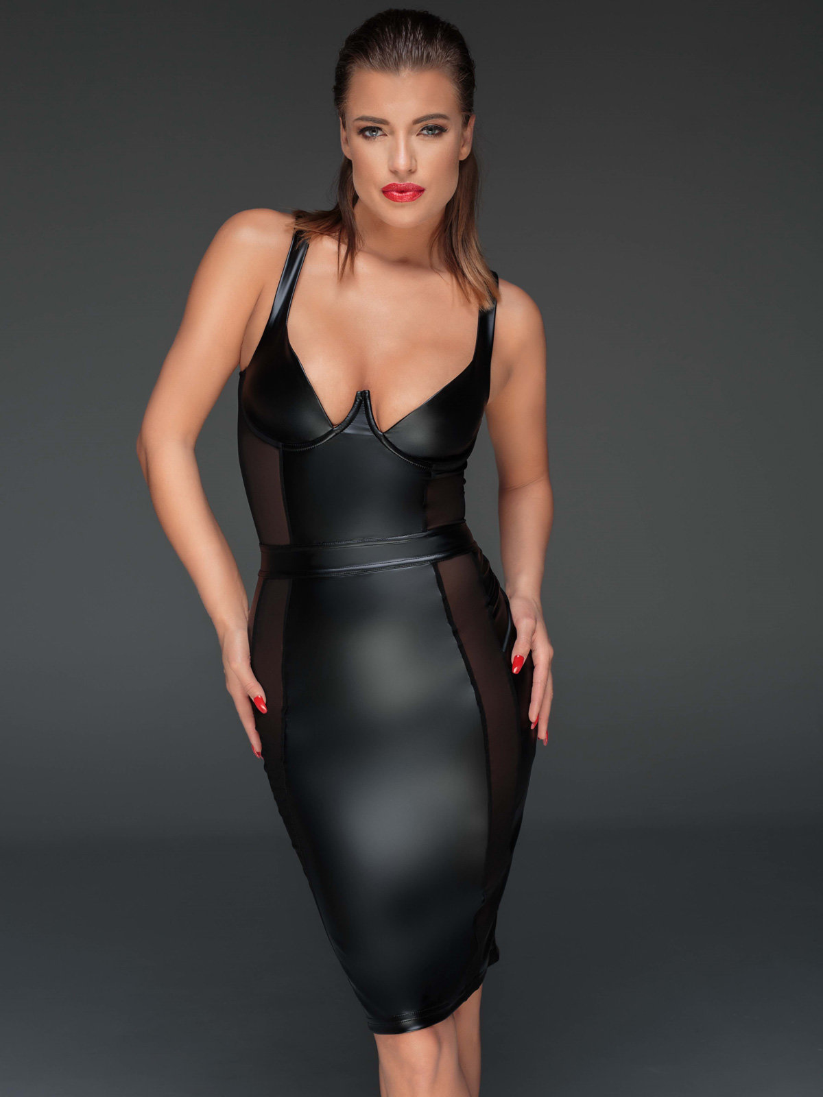 Noir Handmade Chemise Powerwetlook pencil dress 2 Negru