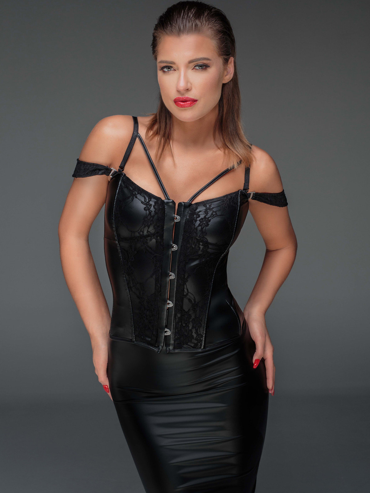 Noir Handmade Corset Powerwetlook and lace Negru