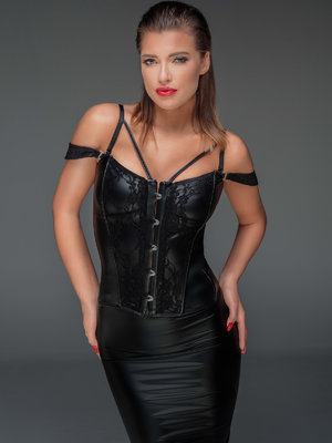 Corset Powerwetlook and lace - Negru