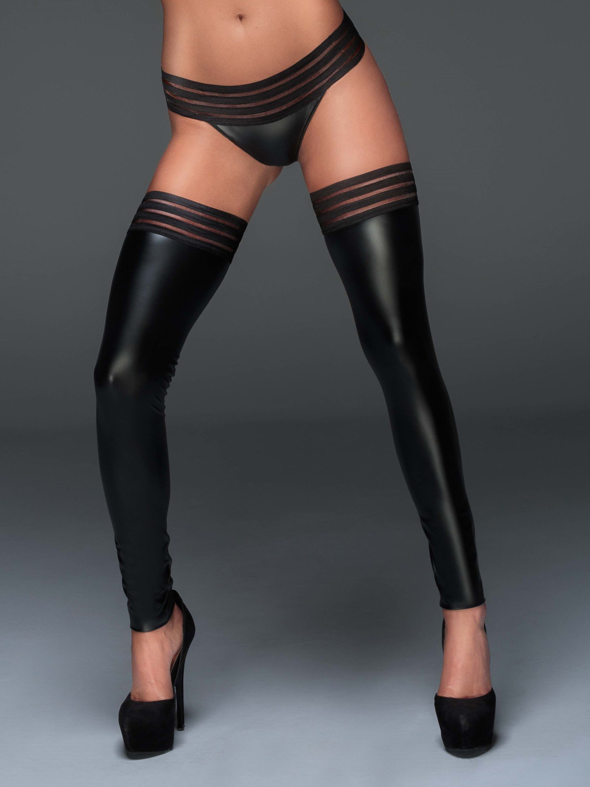 Noir Handmade Chilot Powerwetlook panty Negru