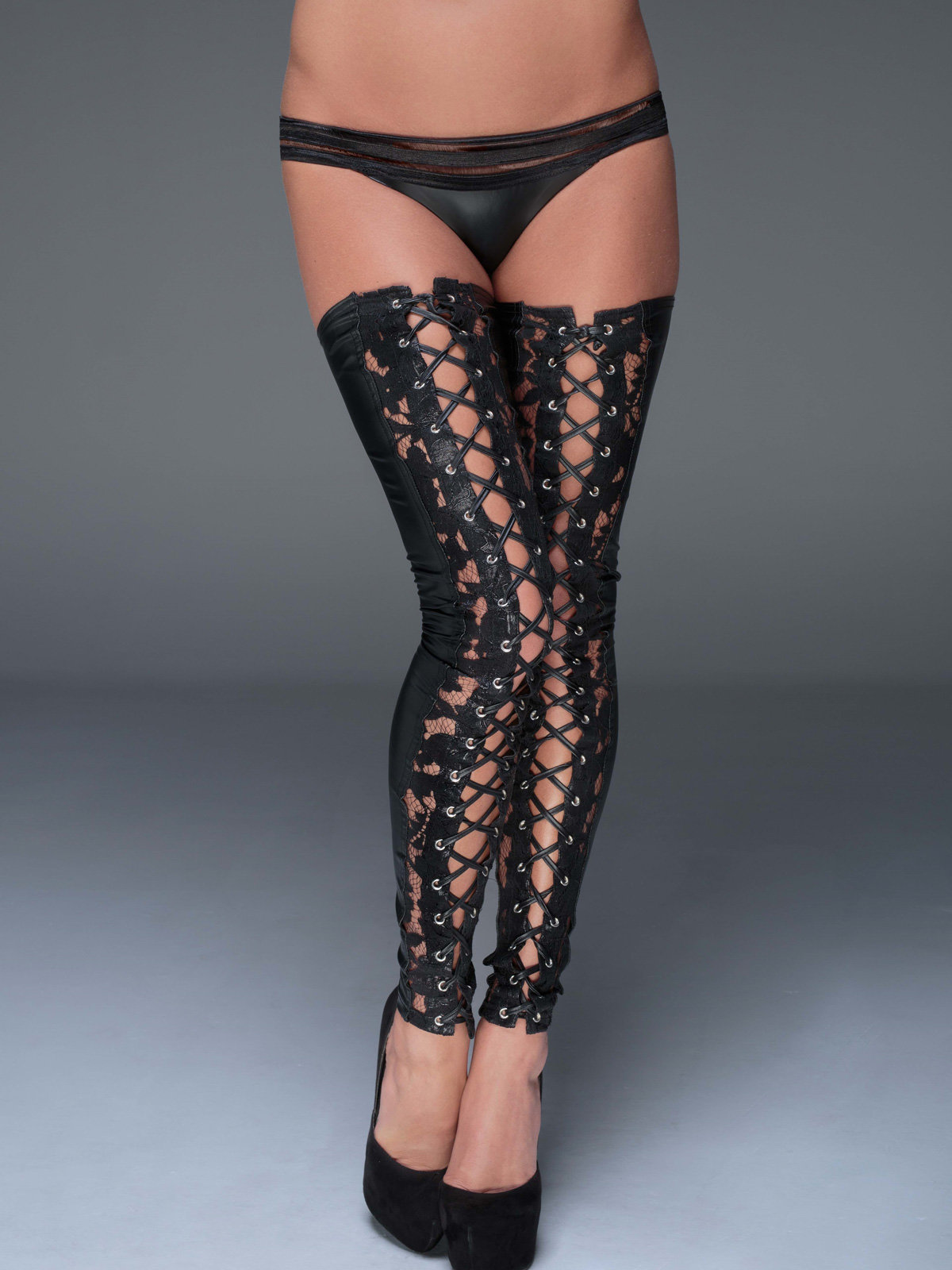 Noir Handmade Dresuri Lace and powerwetlook Negru