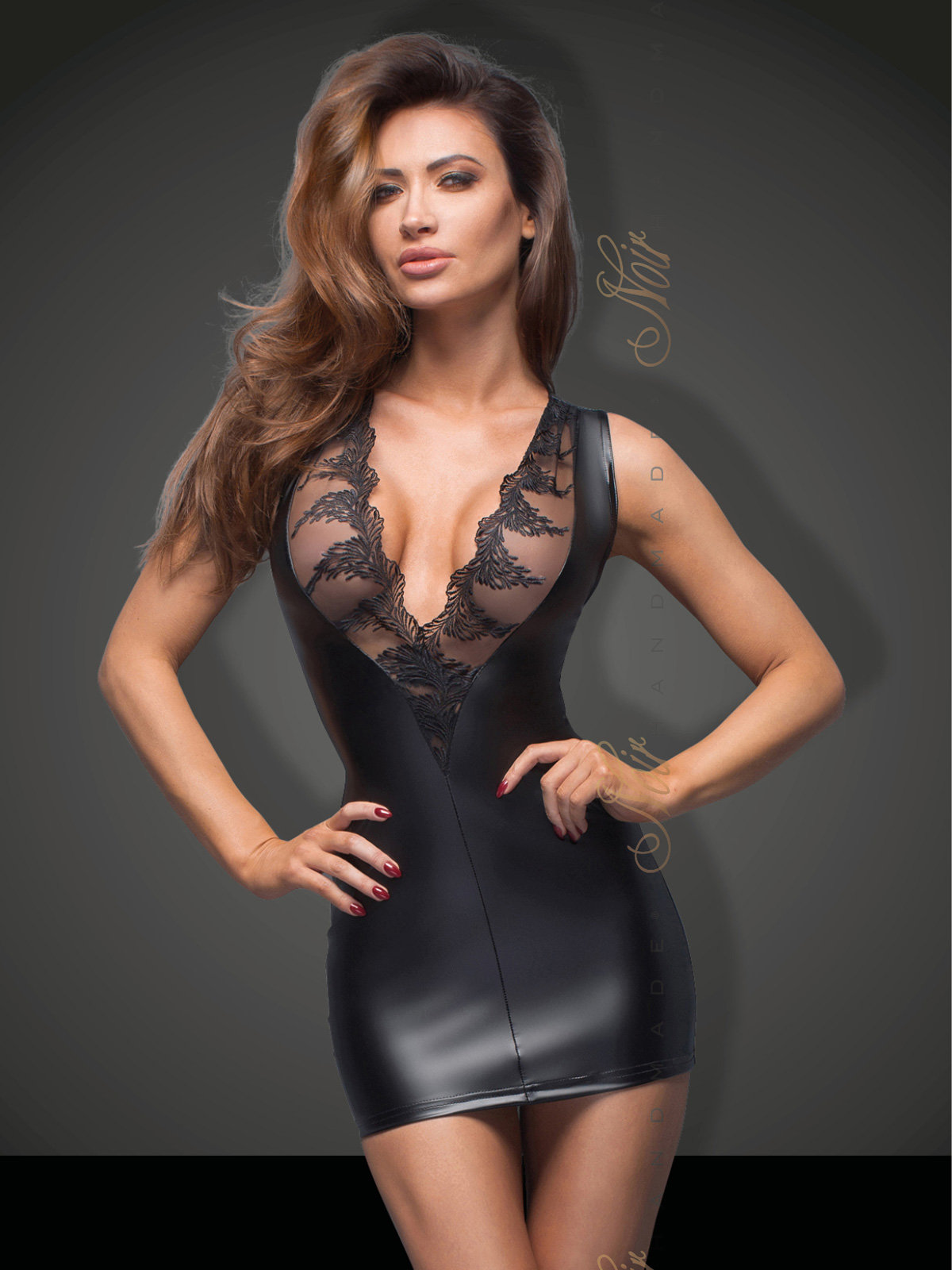 Chemise Minidress with lace cleavage Negru