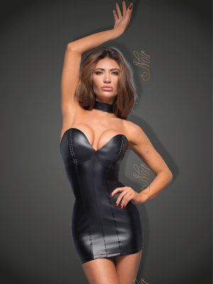 Chemise Minidress with eco-leather cups F172 - Negru