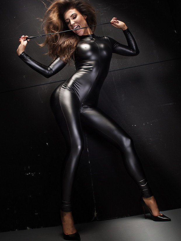 Noir Handmade Catsuit Powerwetlook overall with leash Negru