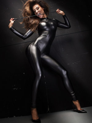 Catsuit Powerwetlook overall with leash - Negru