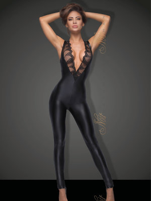 Catsuit Sleeveless powerwetlook - Negru