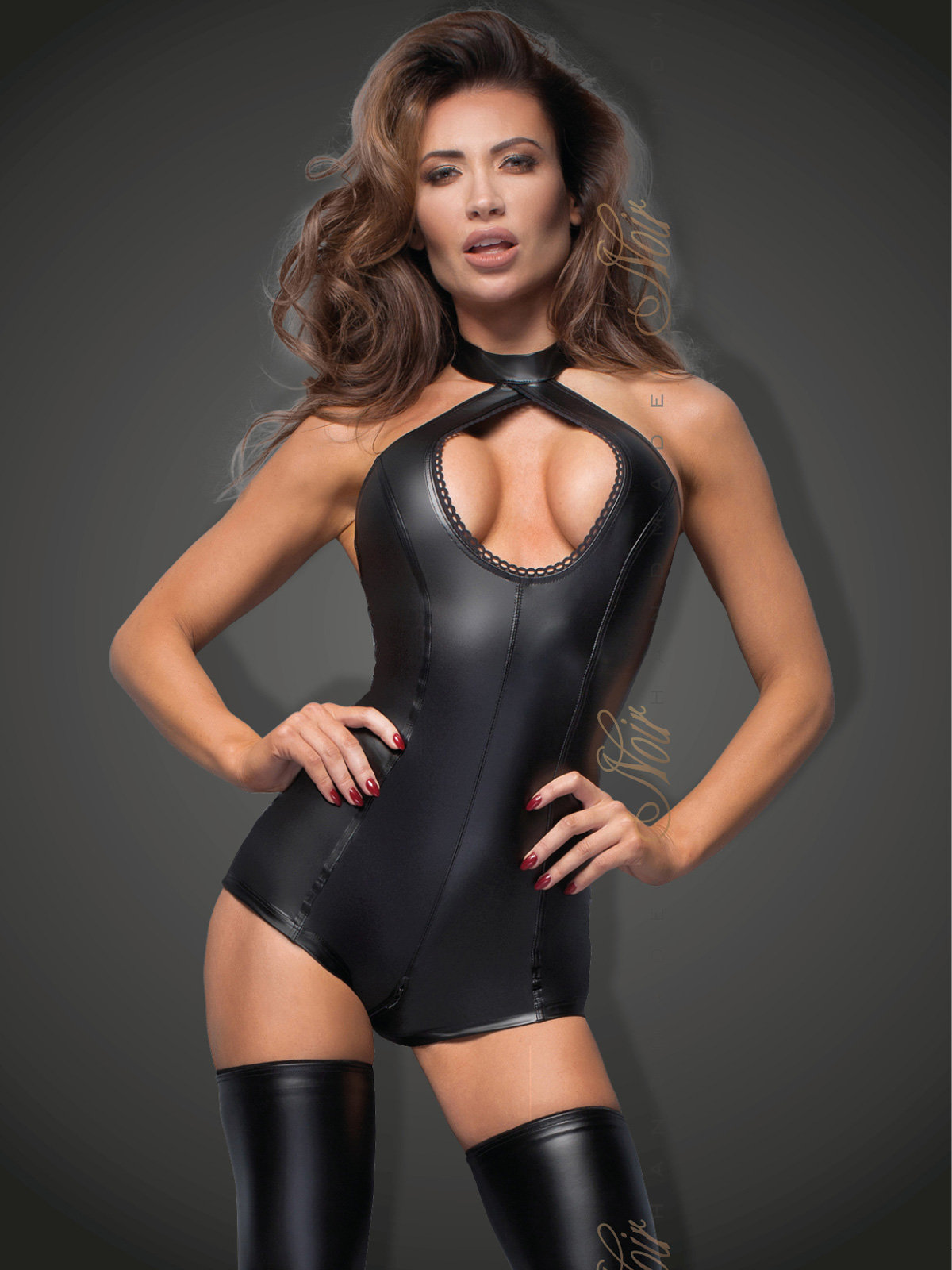 Noir Handmade Body Powerwetlook with lace cleavage Negru