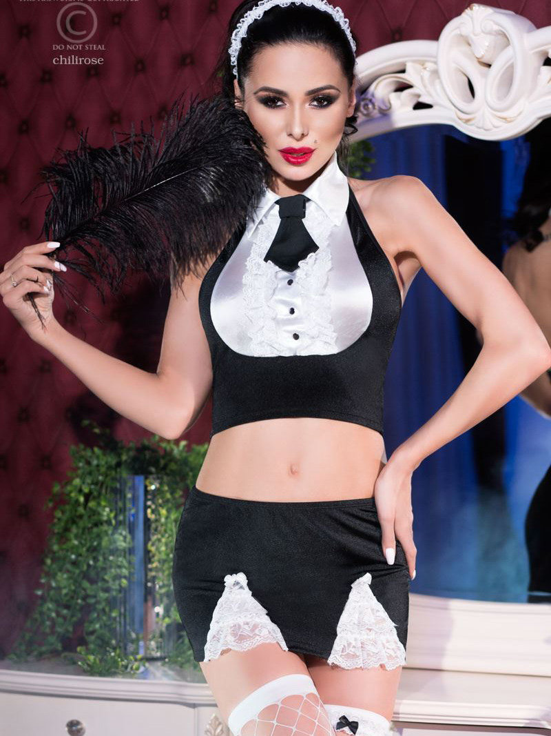 Chilirose Costum Sexy Maid Set Negru