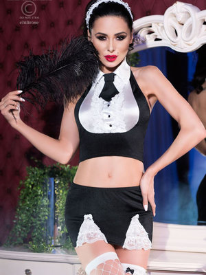 Costum Sexy Maid Set - Negru
