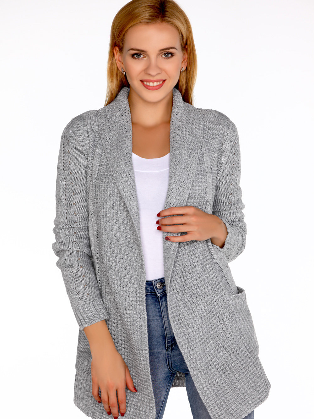Cardigan Jimie Grey Gri de la Merribel