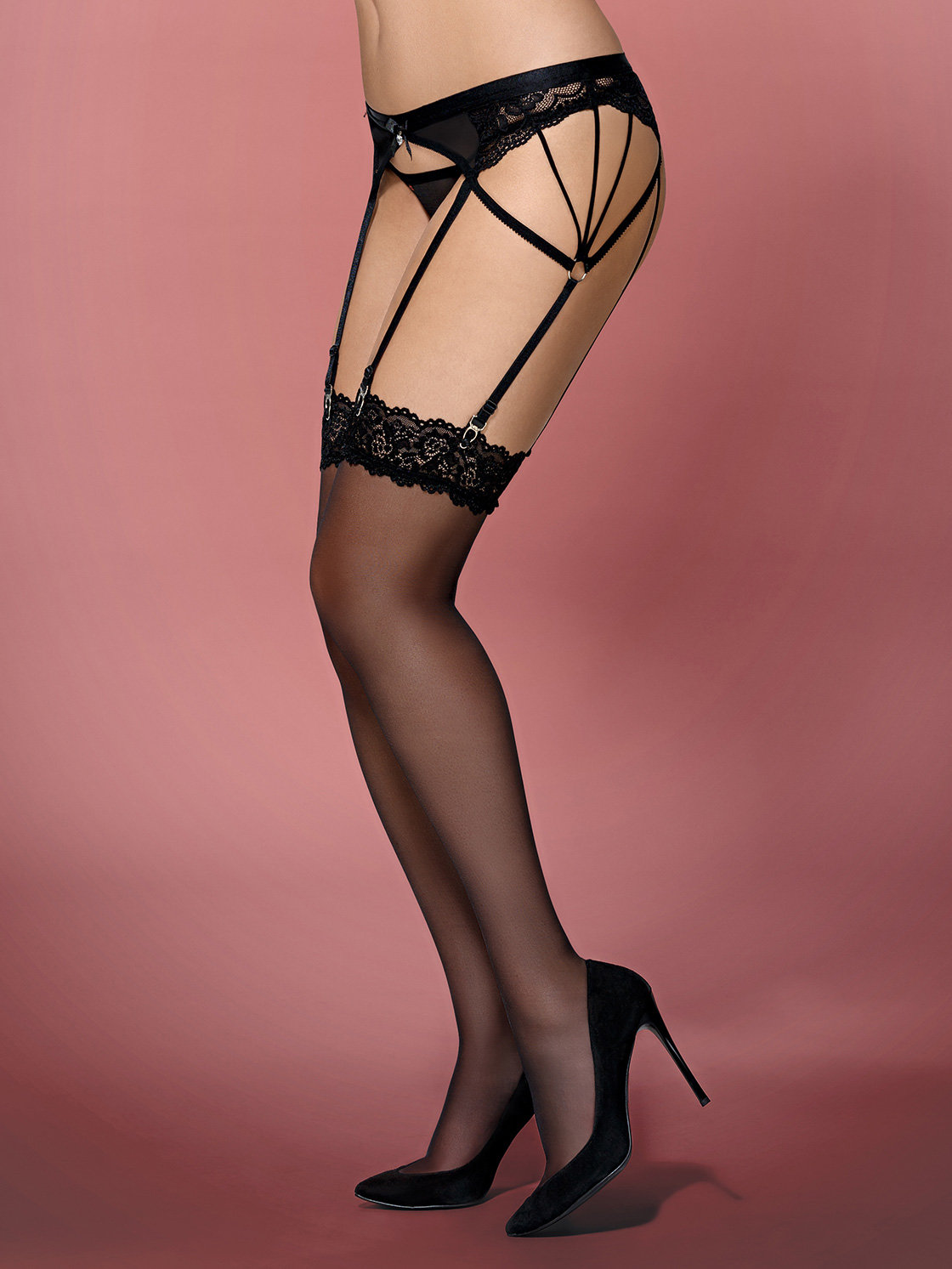 Dresuri 852-STO-1 stockings Negru de la Obsessive