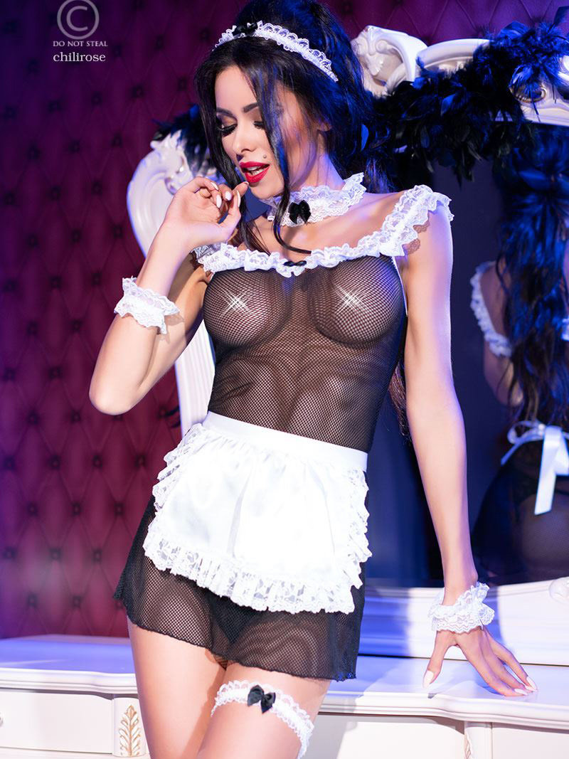 Chilirose Costum French Kiss Maid Negru