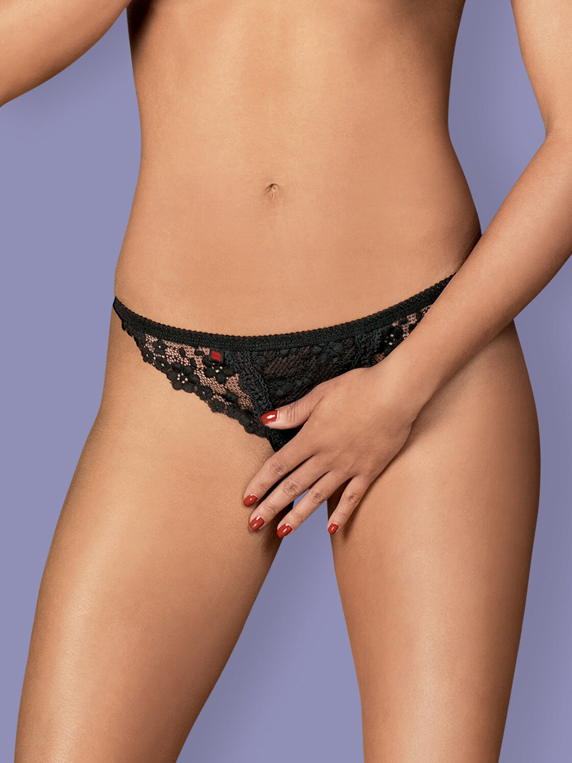 Chilot Letica crotchless Negru Letica crotchless thong