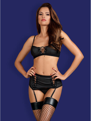 Set sexy Rebella 3-pcs - Negru