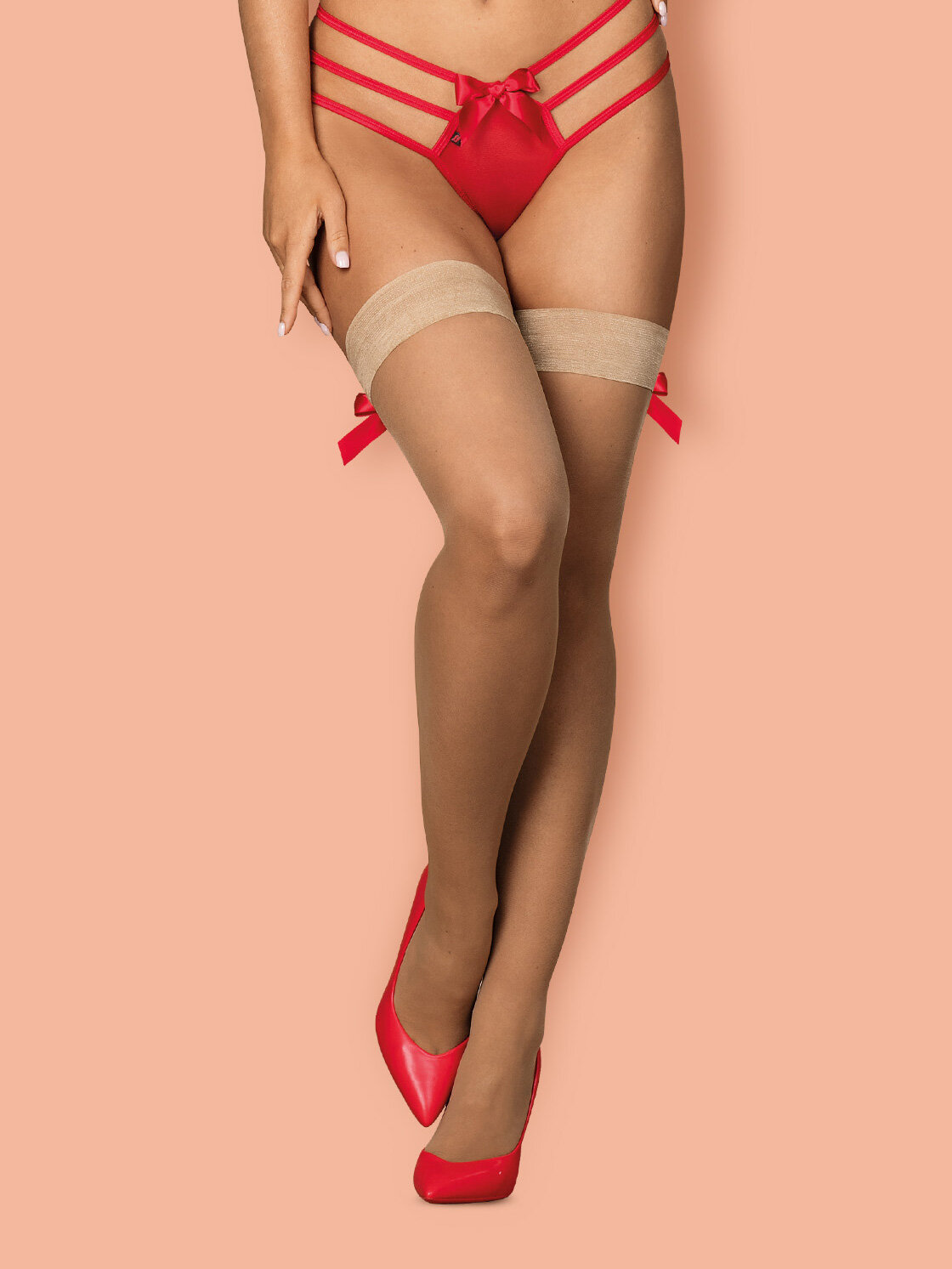 Obsessive Dresuri S808 stockings Crem