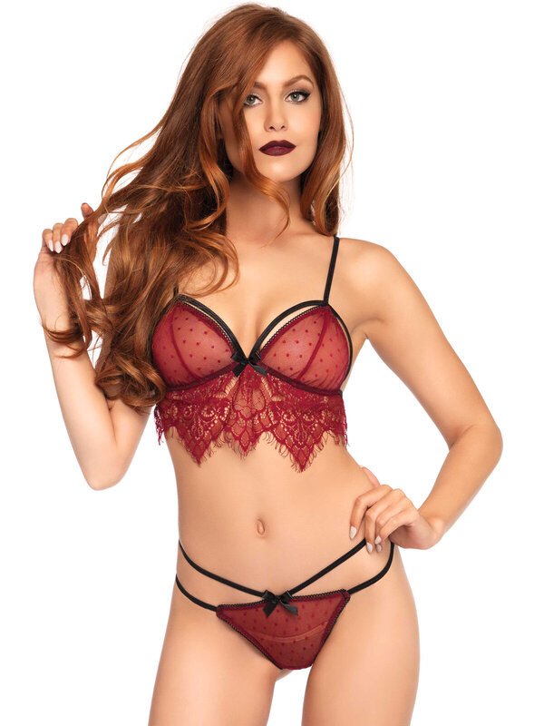Set sexy Leg Avenue 81491 Lace bralette, string