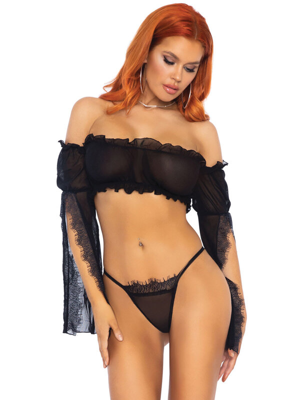 Set sexy Leg Avenue 81605 Mesh bandeau and g-string