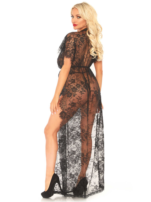 Halat Leg Avenue 86103 Lace kaften robe and thong
