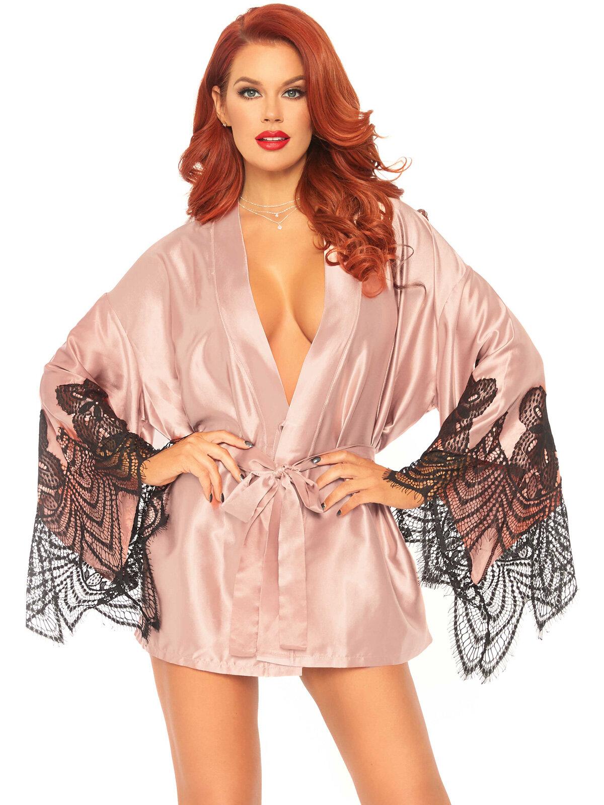 Halat 86105 Roz 86105 Satin robe with flared sleeves