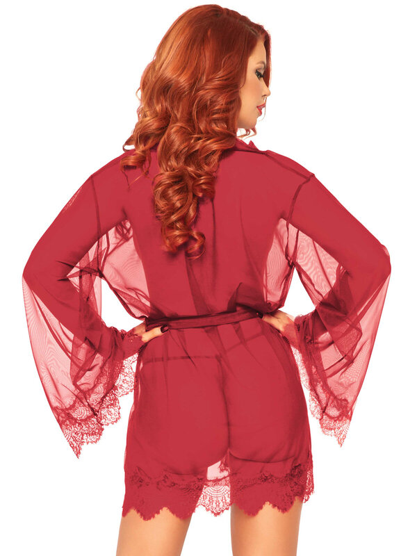 Halat Leg Avenue 86107 Sheer robe with flared sleeves
