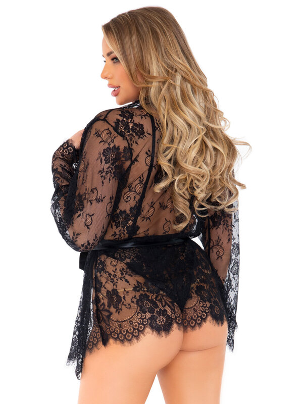 Body Leg Avenue 86112 Floral lace teddy & robe