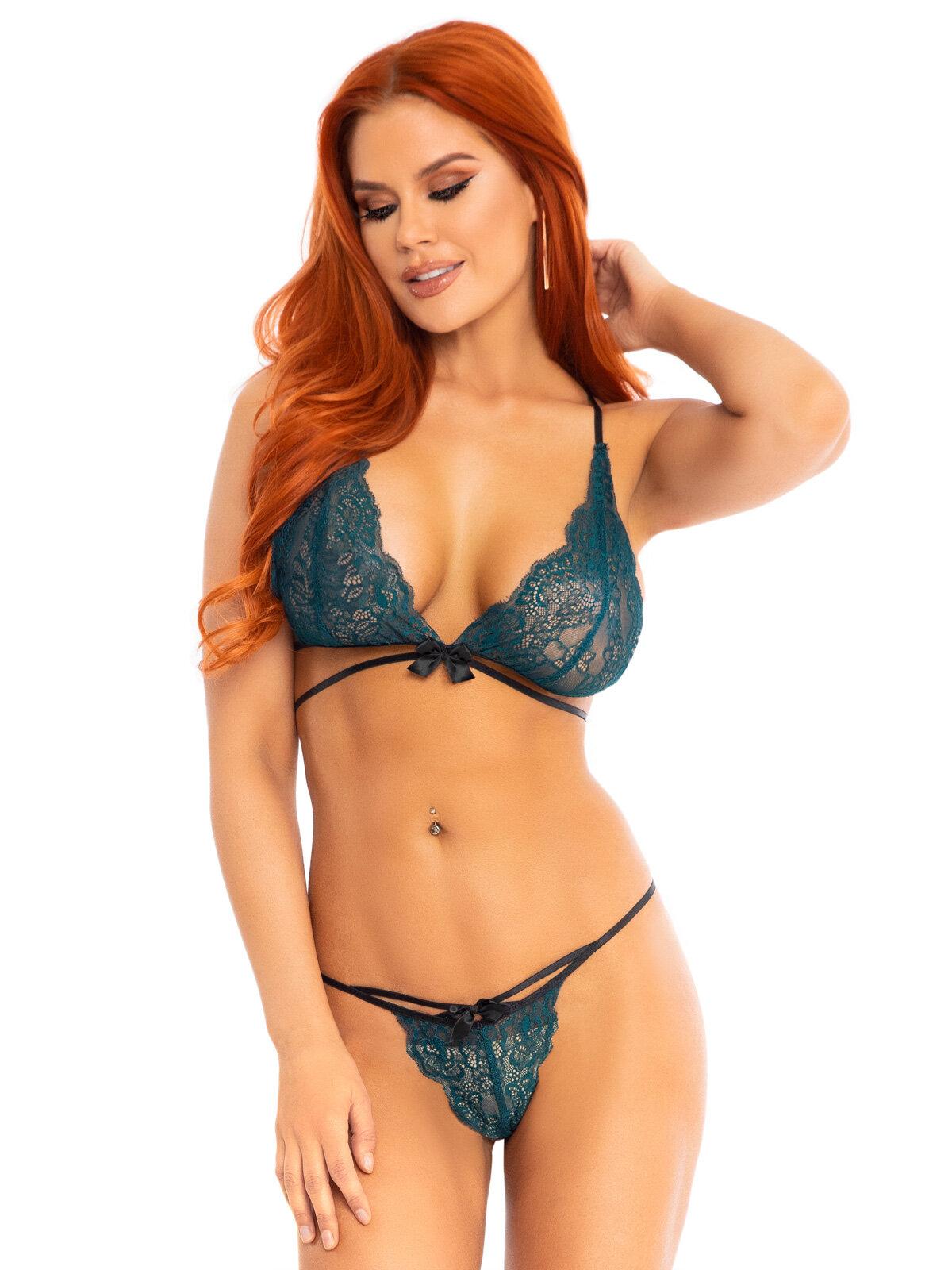 Set sexy 86115 Verde 86115 Bralette & string panty