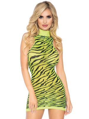 86159 High neck zebra mini dress