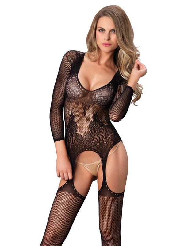 Catsuit Leg Avenue 89173 Floral suspender bodystocking
